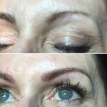 Dark blond eyebrow feathering