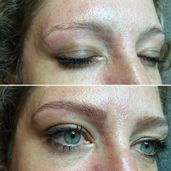 Blond eyebrow feathering