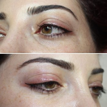 Thin/medium winged upper eyeliner tattoo