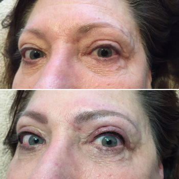 Thin upper eyeliner tattoo and taupe eyebrow feathering