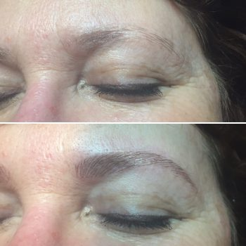 Light brown eyebrow feathering
