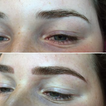 Medium brown eyebrow feathering