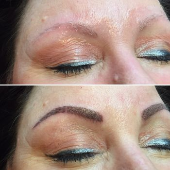 Dark brown eyebrow feathering